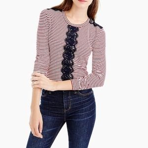J. Crew Striped Lace Linen Blend Long Sleeve Top